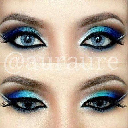 Blue and Silver Eye Makeup