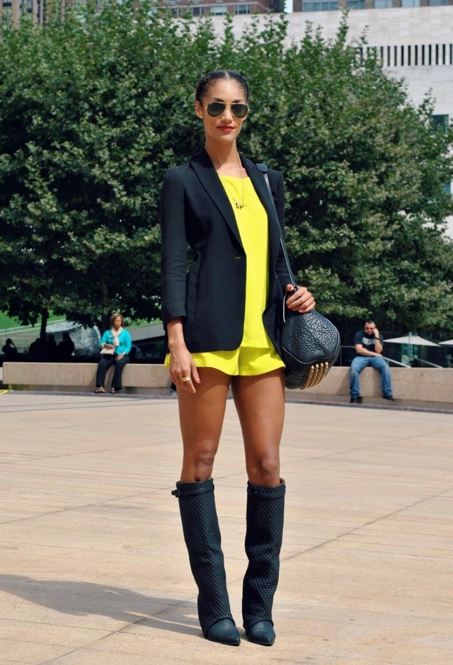 Bright Colored Outfit Idea with Black Blazer