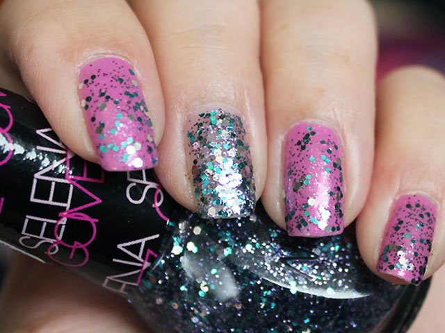Bright Pink Glitter Nails