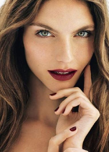 Burgundy Lips and Nails