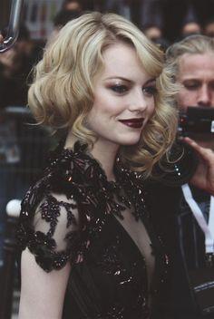 Burgundy Lips on Emma Stone