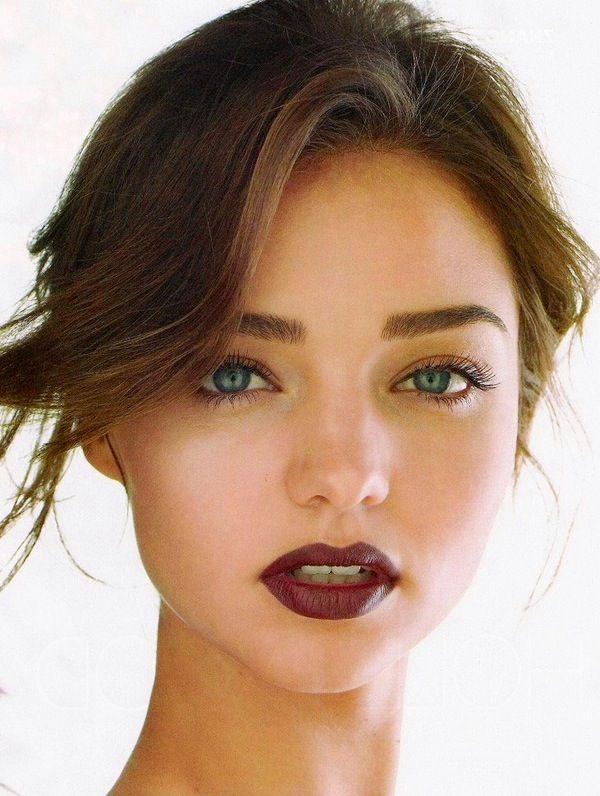 Burgundy Lips on Miranda Kerr