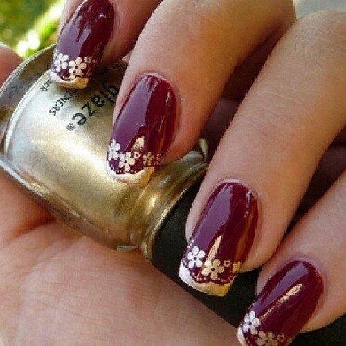 Burgundy Nail Design With Fl Print