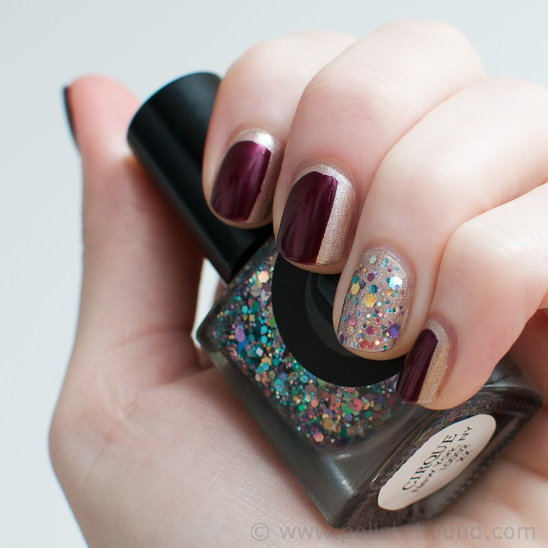 Burgundy Nail Design With Glitters
