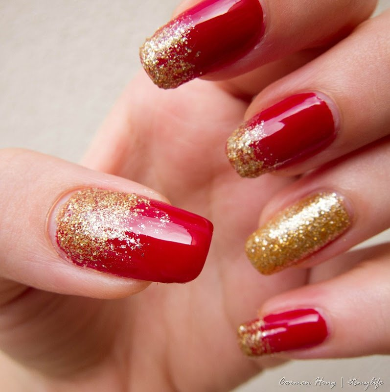 Burgundy Nail Design With Gold Glitters