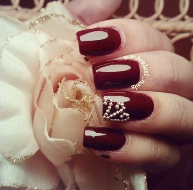 Burgundy Nail Design With Pearls
