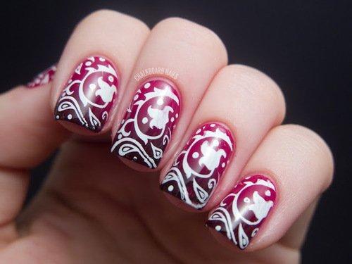 Burgundy Nail Design With Tribal Print