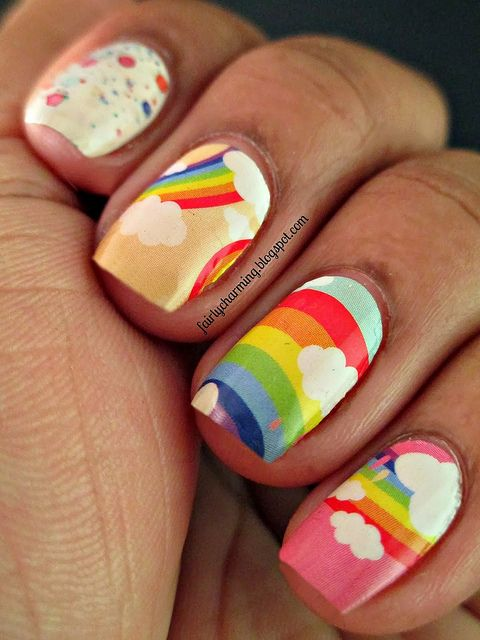 Cartoon Rainbow Nails