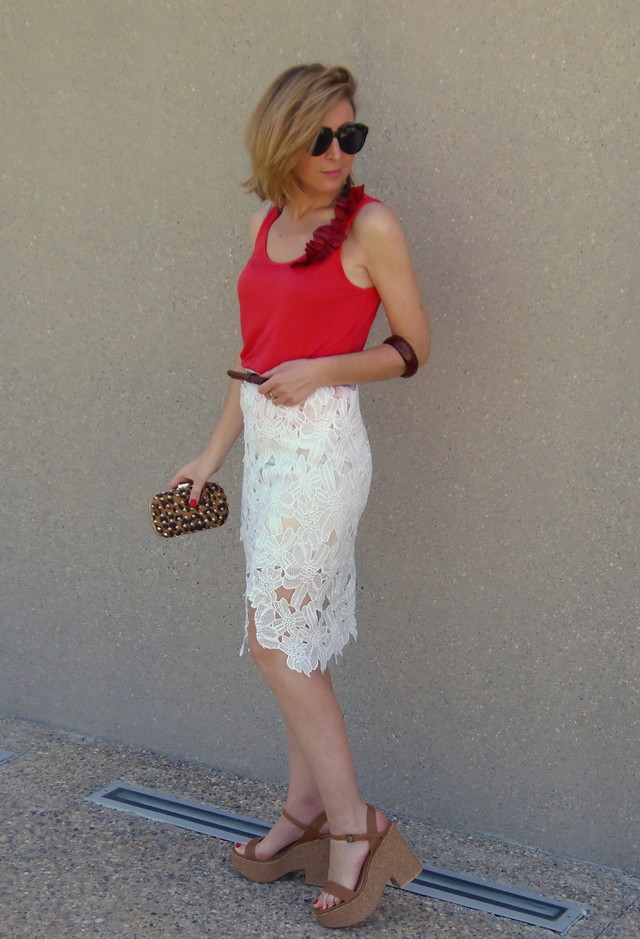 Casual-chic Outfit with Lace Skirt