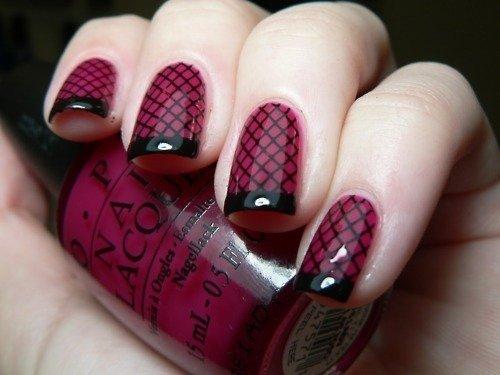 Checked Burgundy Nail Design