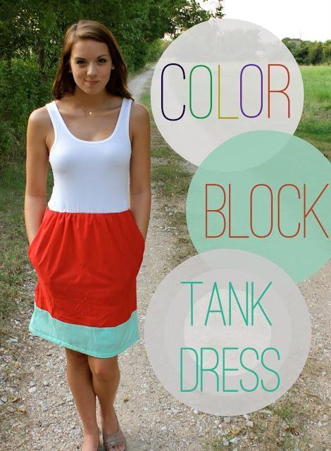 Colored Block Tank Dress