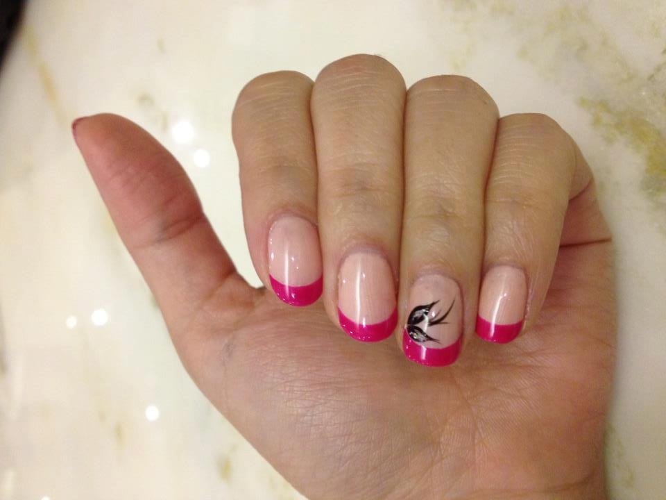 Pink Colored French Manicure