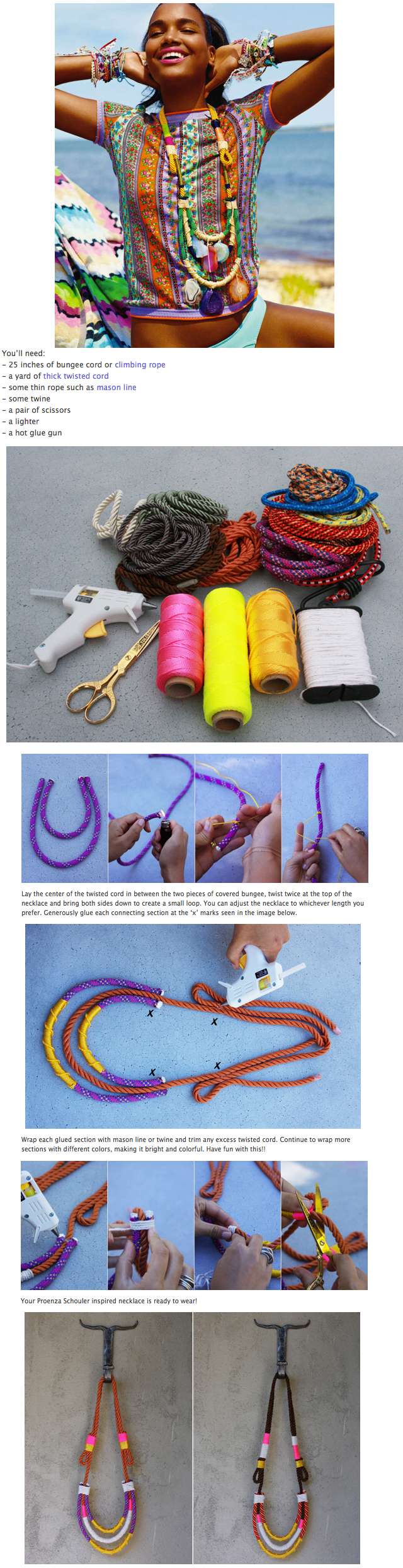 Colorful DIY Rope Necklace