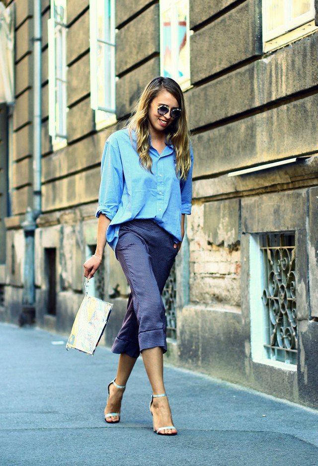 Comfy Blue Blouse Outfit Idea