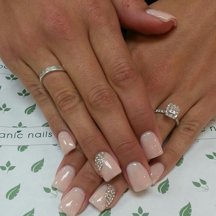 Crystal Embellished Wedding Nails
