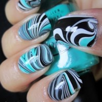 DIY Blue Water Marble Nails