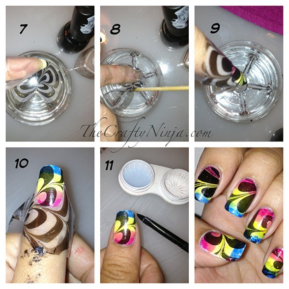 DIY Colorful Water Marble Nails
