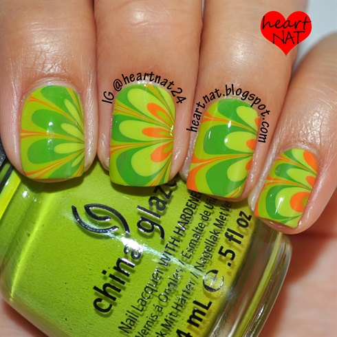 DIY Green Water Marble Nails