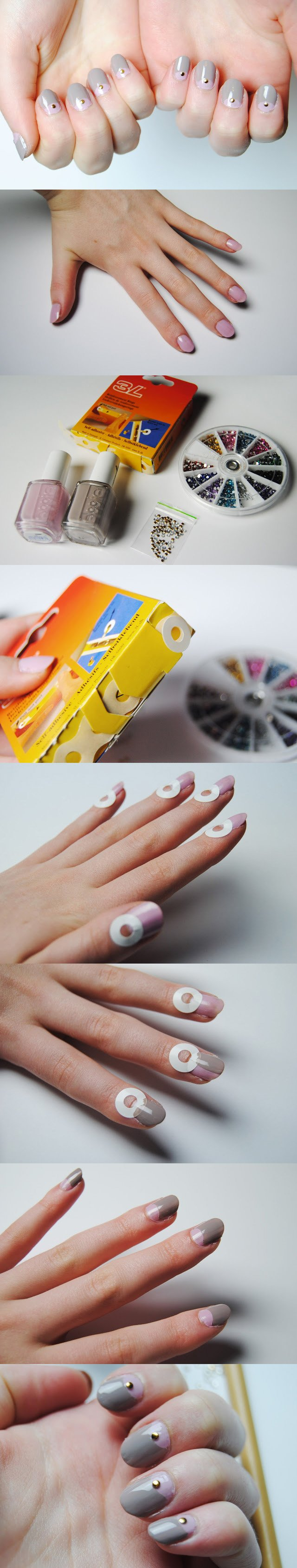 DIY Half Moon Nails with Studs