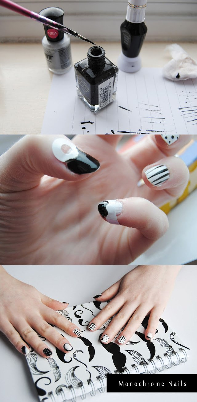 DIY Monochrome Print Nails