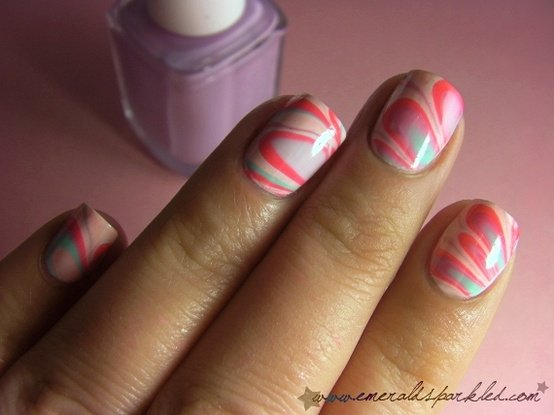 DIY Nude Water Marble Nails