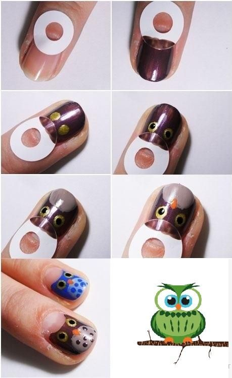 DIY Owl Nail Art
