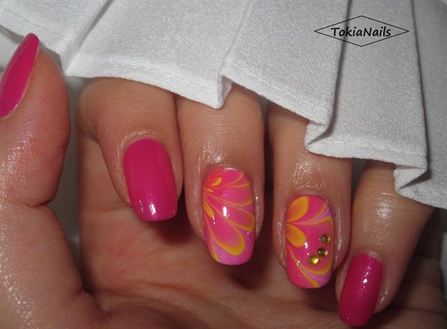 DIY Pink Water Marble Nails