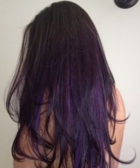 Dark Brown Hair With Purple Underneath Dark Purple Hair Via