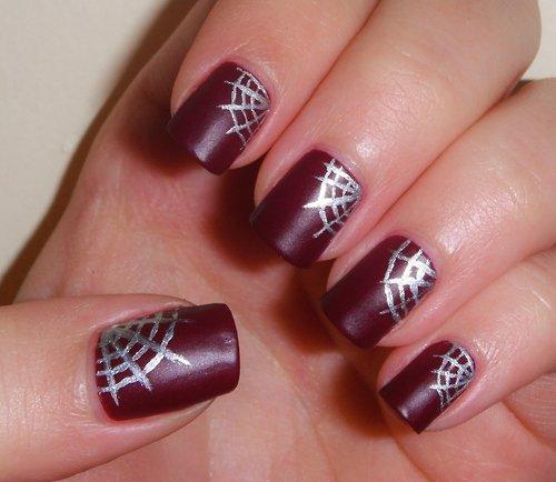Designed Burgundy Nail Design