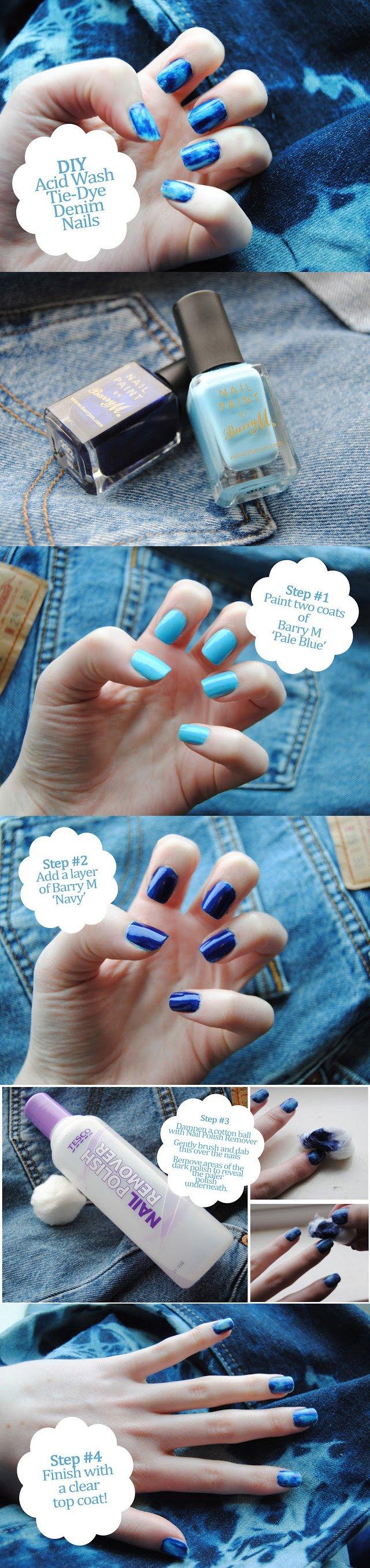 Do It Yourself Acid Wash Denim Nails