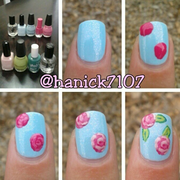 Rose nail tutorials you must love for summer pretty designs easy rose nails prinsesfo Image collections