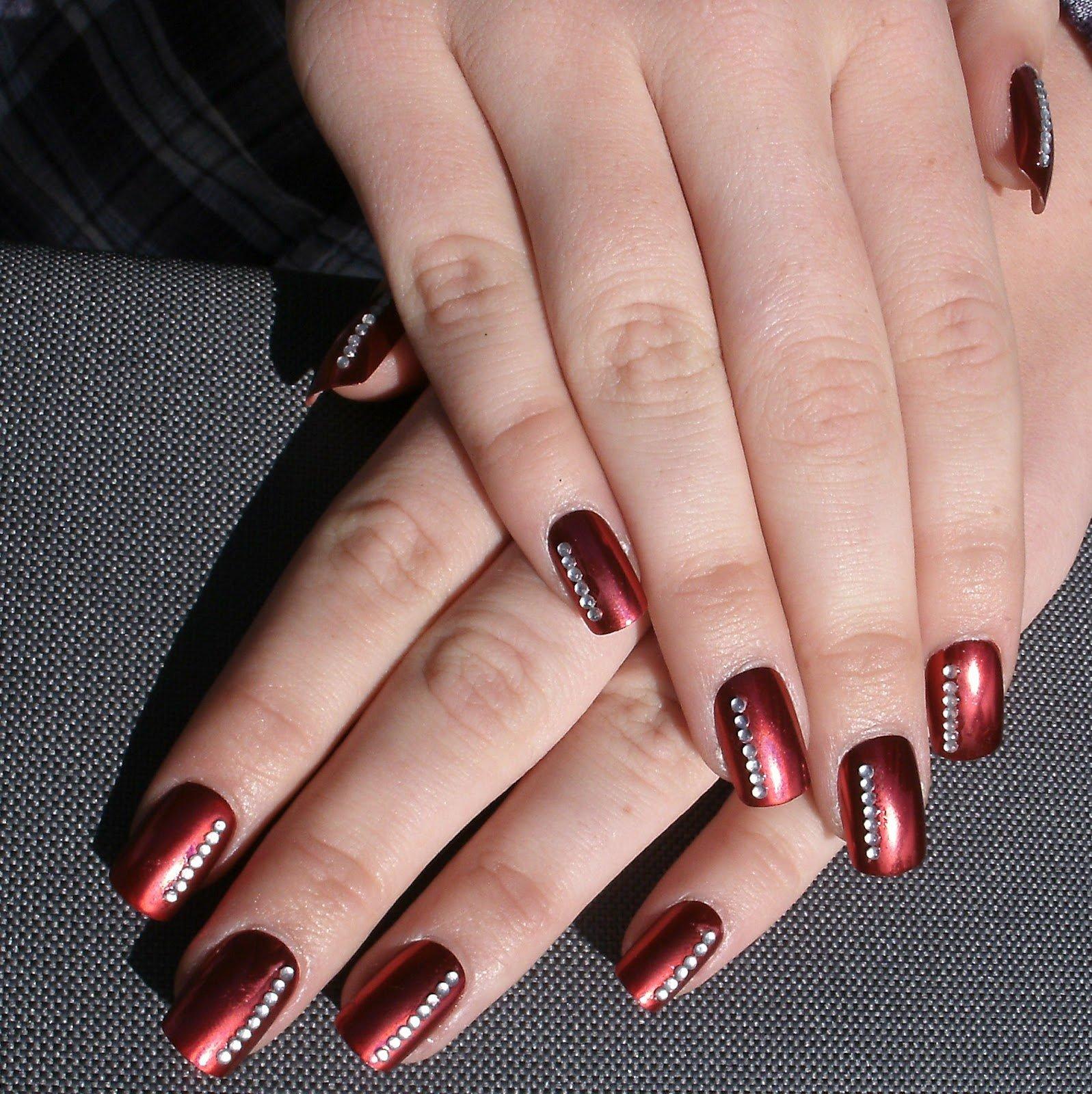 Embellished Burgundy Nail Design