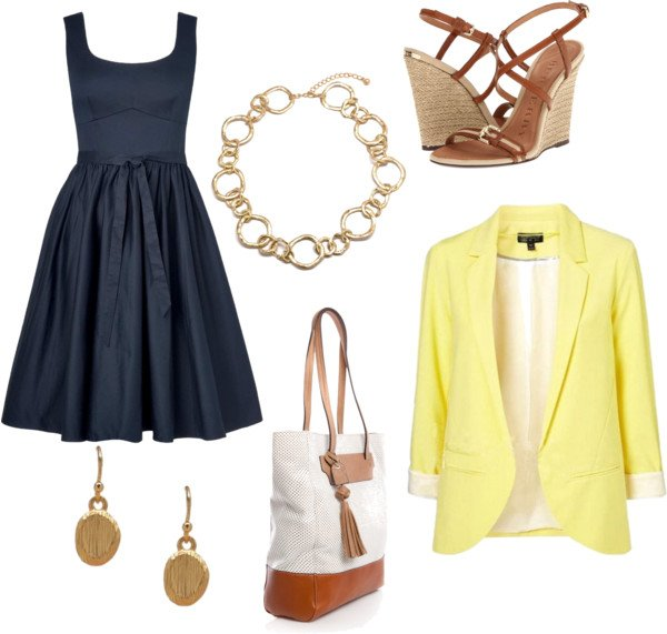 Fashionable Blue Dress Outfit with Yellow Blazer