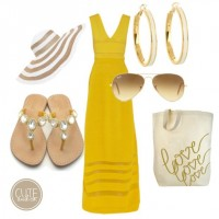Fashionable Summer Outfit Idea with Bright Yellow Dress