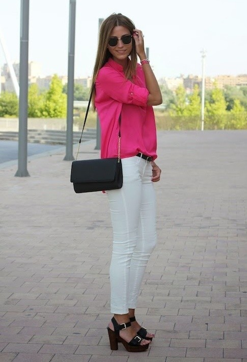 Feminine Blouse and White Jeans Outfit Idea