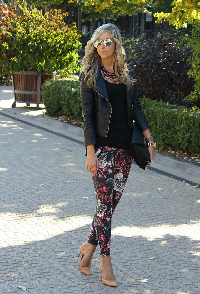 Floral Pants and Black Leather Jacket