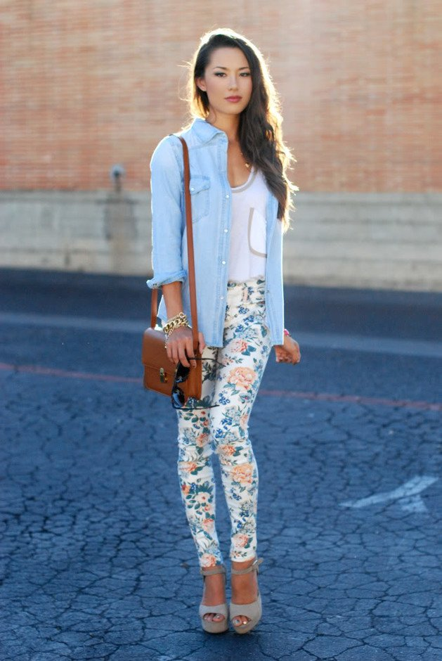 Floral Printed Jeans Outfit with Denim Shirt