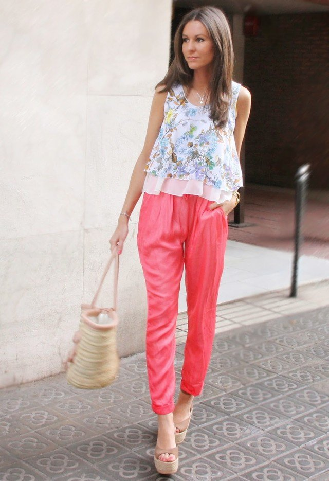 Floral Top and Red Baggy Pants