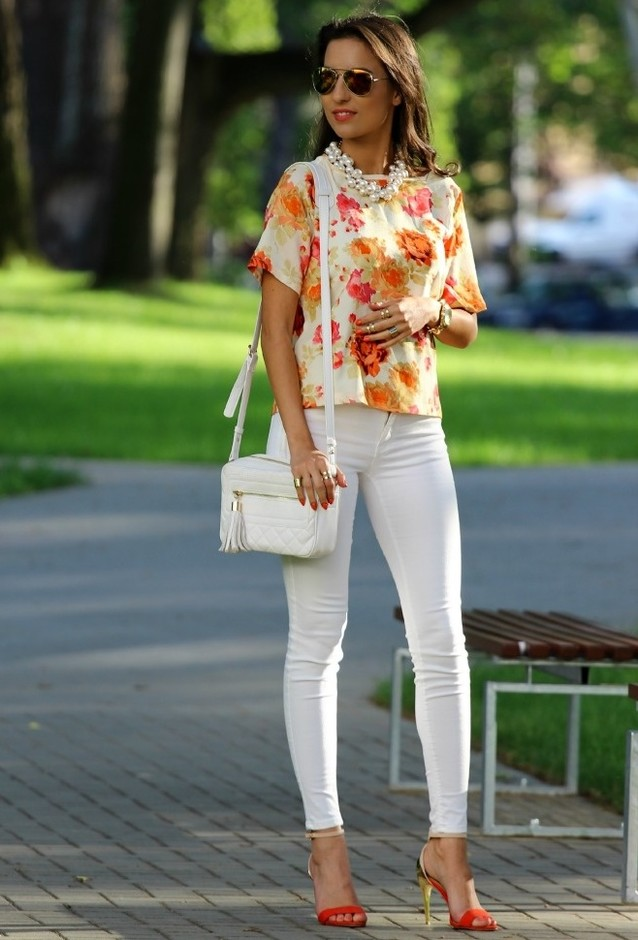 Floral Tops and White Jeans Outfit