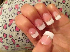 French Nails With Glitters