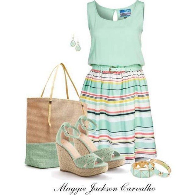 Fresh Mint Outfit Idea for Summer