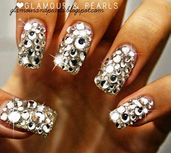 Glitter Nails With Reinstone