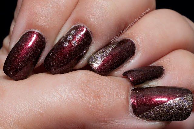 Glittering Burgundy Nail Design