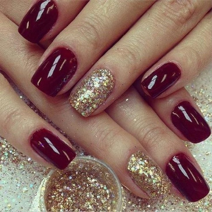 Gold Embellished Burgundy Nail Design