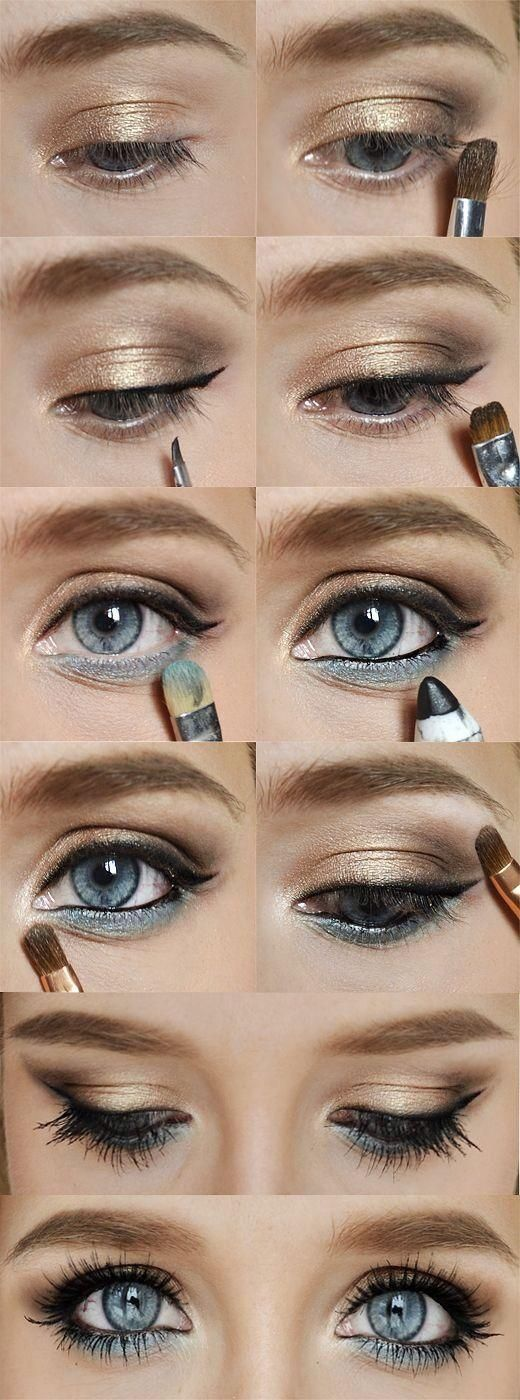 Gold and Blue Eye Makeup