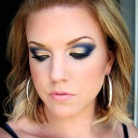 Gorgeous Blue and Gold Eye Makeup Look