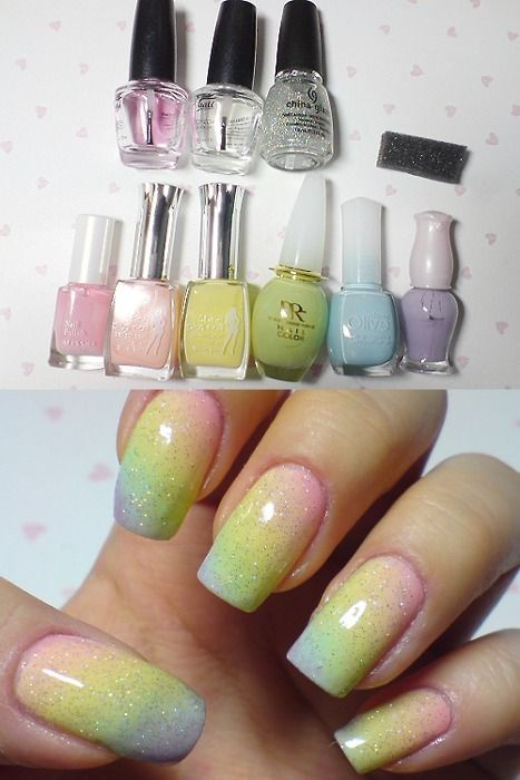 Gradient Nails with Glitter