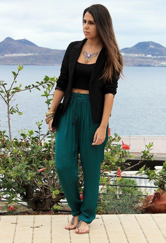 Green Baggy Pants with Black Blazer