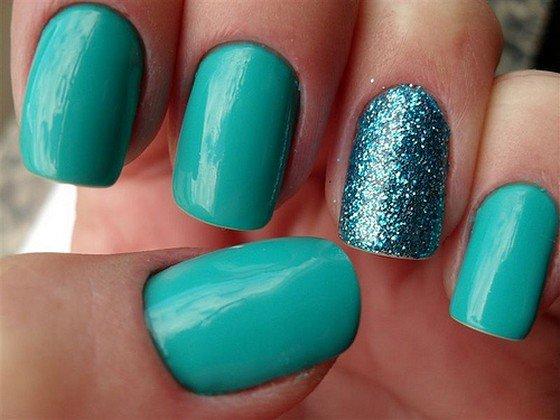 Green Embellished Nails