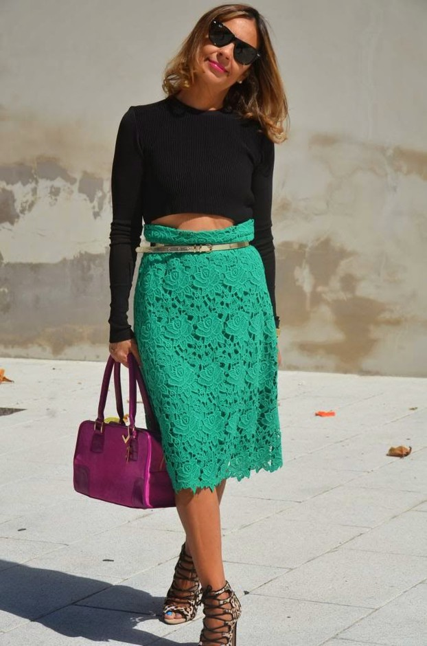 Green Lace Skirt with Black Crop Top